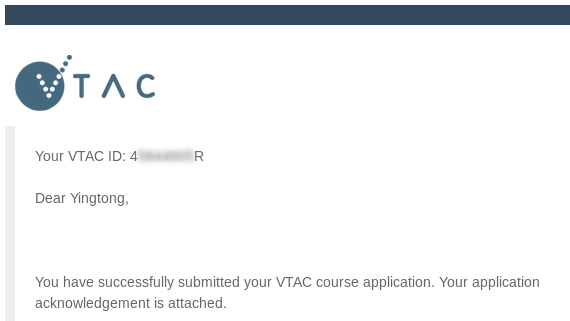 VTAC application confirmation
