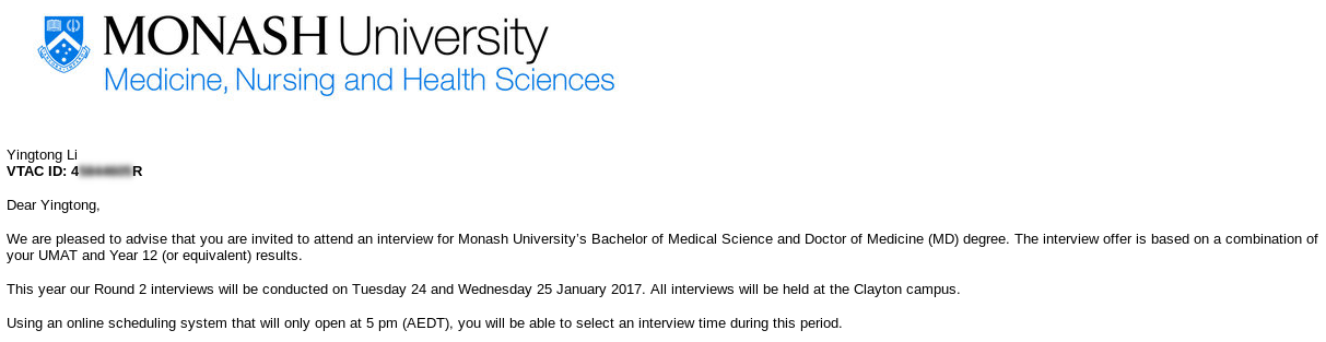 Monash interview offer