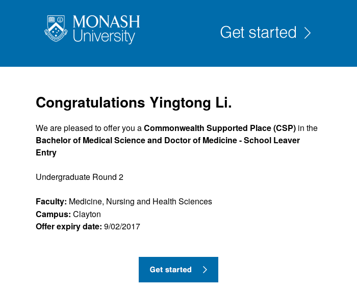 Monash offer email