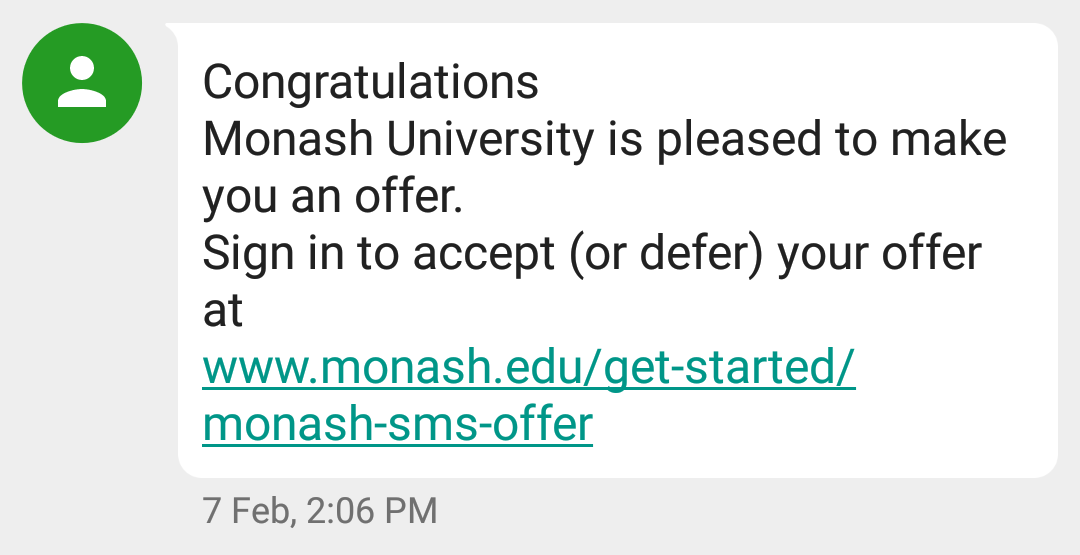 Monash offer text message
